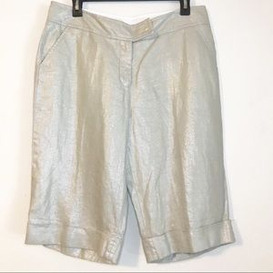 Boston Proper Metallic Sheen Linen Bermuda Shorts